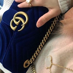 Blue Gucci GG Suede Marmont Bag